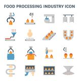 Food processing icon. Food processing industry and production line inside factory vector icon Stock Images