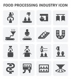 Food processing icon. Food processing industry and production line inside factory vector icon vector illustration