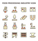 Food processing icon. Food processing industry and production line inside factory vector icon Royalty Free Stock Photo