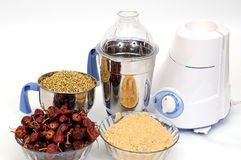 Food processor. And spicy over white background Stock Image