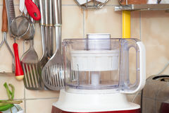 Food processor and kitchen utensils Stock Photos