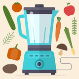 Food processor, mixer, blender and vegetables. Royalty Free Stock Photography