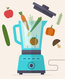 Food processor, mixer, blender and vegetables. Royalty Free Stock Images