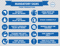 Food Production Mandatory Signs. (hairnet must be worn, stack correctly, wheels must be choked, boots, gloves, face mask, dust mask, guards, show you id cards Stock Photos