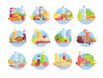 Food and Products Collections in Circles on White. Foodstuff and products collections in circles on white. Vector poster of dairy products, drinks in bottles and Royalty Free Stock Image