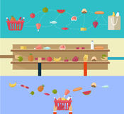 Food products, concept shopping in the supermarket or online sho Royalty Free Stock Image