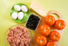 Food products for farci tomato Stock Photography