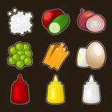 Food products icon set royalty free illustration