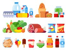 Food products. Packed cooking product, supermarket goods and canned food. Cookie jar, whipped cream and eggs pack flat. Food products. Packed cooking product royalty free illustration