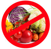 Food prohibited for import into the country. The round frame made of vegetables. Isolated. Royalty Free Stock Photos