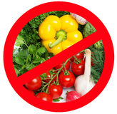 Food prohibited for import into the country. The round frame made of vegetables. . Stock Image