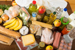 Food purchases from supermarket Royalty Free Stock Images