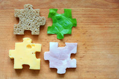 Food puzzle ingredients diet creative concept royalty free stock photos