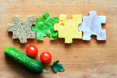 Food puzzle ingredients diet creative concept royalty free stock photography