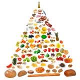 Food pyramid. Large food pyramid isolated on white background Stock Photos