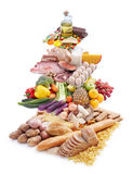 Food pyramid. Separated into layers against white background Stock Photos