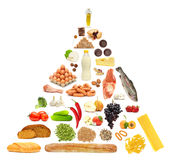 Food Pyramid. Fruit, vegetables, meat, milk, nut, bread and cheese isolated on white Stock Images