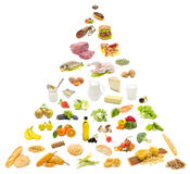 Food pyramid. Variety of food on white background, forming a food pyramid Royalty Free Stock Photography