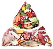 Food pyramid or diet pyramid presents basic food groups. Stock Images