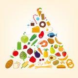 Food pyramid flat design illustration Royalty Free Stock Photos
