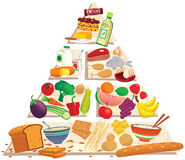 Food pyramid. An illustration of a food pyramid, containing all the food groups. E.P.S. 10 vector file included with image, isolated on white stock illustration
