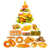 Food pyramid - lots of items Royalty Free Stock Photos