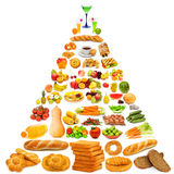 Food pyramid - lots of items. Food pyramid with lots of items Stock Images