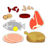 Food Pyramid Meat Food Items. Graphic representation of the main meat fish protein foods in the new foos pyramid vector illustration