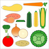 Food Pyramid Vegetable Food Items. Graphic representatons of the main vegetable foods in the new food pyramid vector illustration
