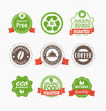 Food quality labels collection Stock Photo