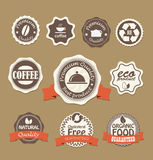 Food quality labels collection Royalty Free Stock Image