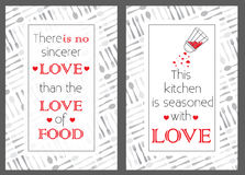 Food quote posters. Kitchen seamless pattern. Royalty Free Stock Photo