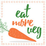 Food quotes. Eat your veggies. Organic carrot card. royalty free illustration