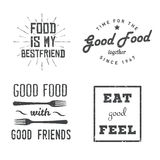 Food quotes. Food related quotes in vintage, retro style. Food themed motivational and inspirational labels, signs, logos, icons. Stock vector badges in Stock Image