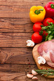 Food. Raw meat for barbecue with fresh vegetables Royalty Free Stock Photo