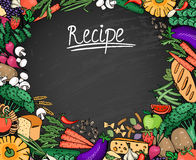 Food Recipe Background on Black Chalkboard Royalty Free Stock Photo