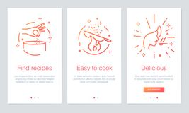 Food and Recipes concept onboarding app screens. Modern and simplified vector illustration walkthrough screens template for mobile. Vector and illustration: Food Stock Images