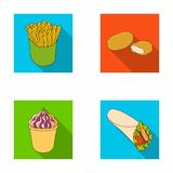 Food, refreshments, snacks and other web icon in flat style.Packaging, paper, potatoes icons in set collection. Food, refreshments, snacks and other  icon in Royalty Free Stock Photo