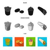 Food, refreshments, snacks and other web icon in black, flat, monochrome style.Packaging, paper, potatoes icons in set. Food, refreshments, snacks and other Stock Image