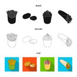 Food, refreshments, snacks and other web icon in black,flat,outline style.Packaging, paper, potatoes icons in set. Food, refreshments, snacks and other  icon in Royalty Free Stock Image