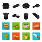 Food, refreshments, snacks and other web icon in black,flet style.Packaging, paper, potatoes icons in set collection. Food, refreshments, snacks and other  icon Royalty Free Stock Photo