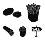 Food, refreshments, snacks and other web icon in black style.Packaging, paper, potatoes icons in set collection. Food, refreshments, snacks and other  icon in Royalty Free Stock Image