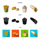 Food, refreshments, snacks and other web icon in cartoon,black,flat style.Packaging, paper, potatoes icons in set. Food, refreshments, snacks and other  icon in Royalty Free Stock Photo
