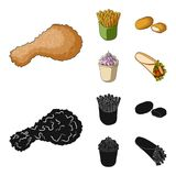 Food, refreshments, snacks and other web icon in cartoon,black style.Packaging, paper, potatoes icons in set collection. Food, refreshments, snacks and other Stock Photos