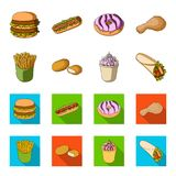Food, refreshments, snacks and other web icon in cartoon,flat style.Packaging, paper, potatoes icons in set collection. Food, refreshments, snacks and other Royalty Free Stock Photo