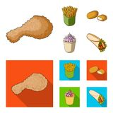 Food, refreshments, snacks and other web icon in cartoon,flat style.Packaging, paper, potatoes icons in set collection. Food, refreshments, snacks and other Stock Photography