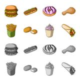 Food, refreshments, snacks and other web icon in cartoon,monochrome style.Packaging, paper, potatoes icons in set. Food, refreshments, snacks and other  icon in Royalty Free Stock Photos