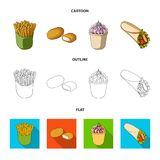 Food, refreshments, snacks and other web icon in cartoon,outline,flat style.Packaging, paper, potatoes icons in set. Food, refreshments, snacks and other  icon Royalty Free Stock Image