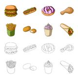 Food, refreshments, snacks and other web icon in cartoon,outline style.Packaging, paper, potatoes icons in set. Food, refreshments, snacks and other  icon in Stock Images