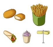 Food, refreshments, snacks and other web icon in cartoon style.Packaging, paper, potatoes icons in set collection. Food, refreshments, snacks and other  icon in Stock Photos
